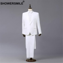 SHOWERSMILE White Formal Suit Jacket Men 3 Pieces Blazer+Pants+bowtie Spring Summer Performance Mens Coats Singer Stage Wear(China)