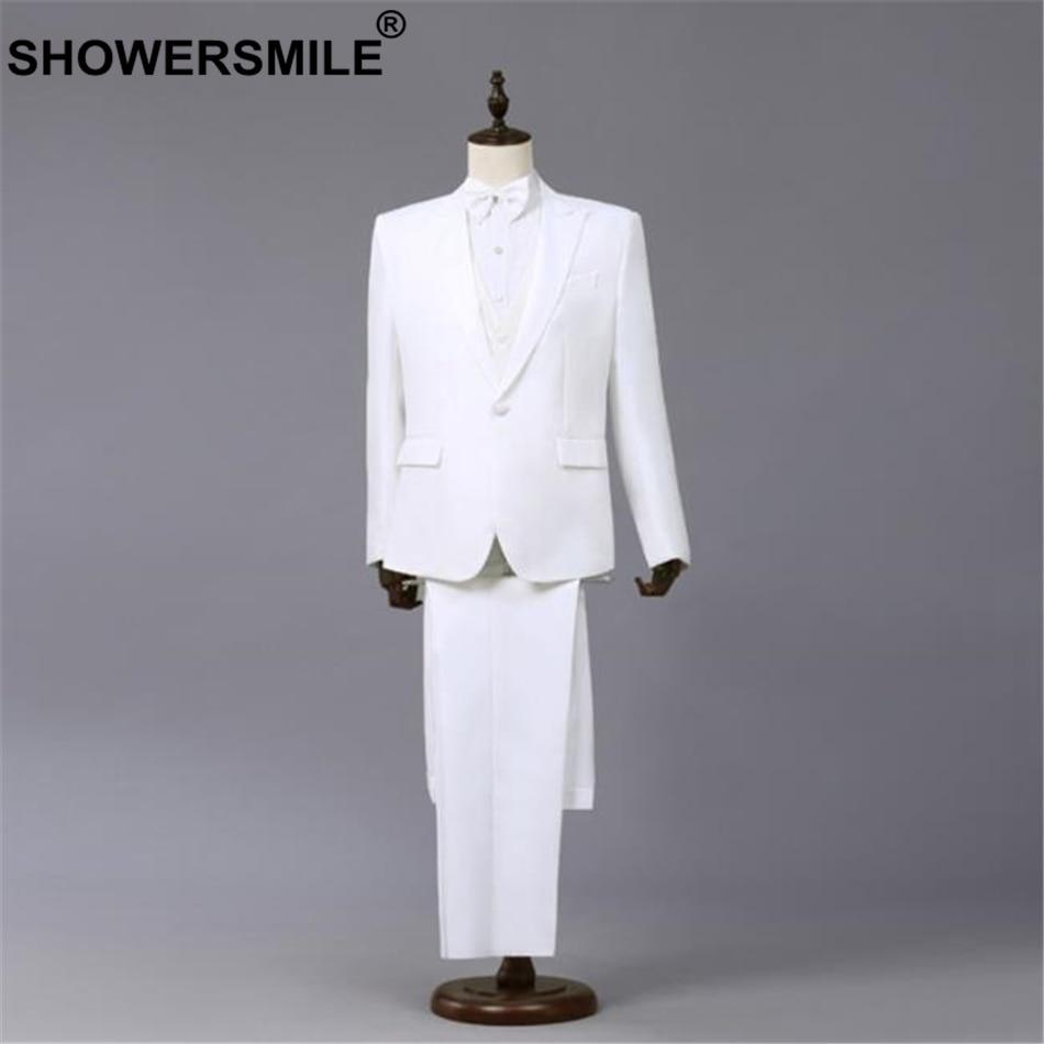 SHOWERSMILE White Formal Suit Jacket Men 3 Pieces Blazer+Pants+bowtie Spring Summer Performance Mens Coats Singer Stage Wear