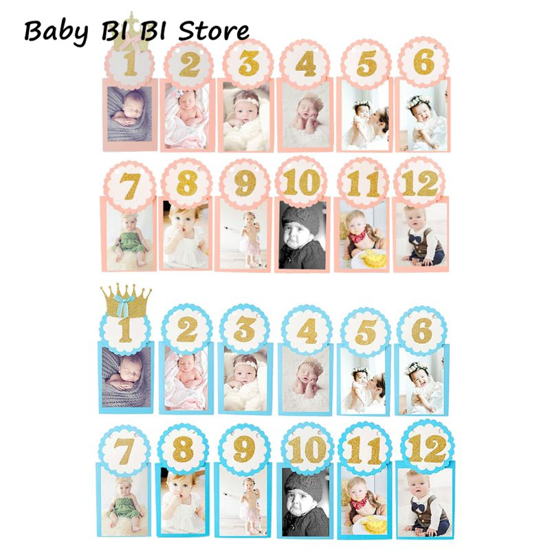 Baby Souvenir Photography Photo Frame 1-12 Months Infants Shower Bathing Birthday Gift For Kids Room Decorations