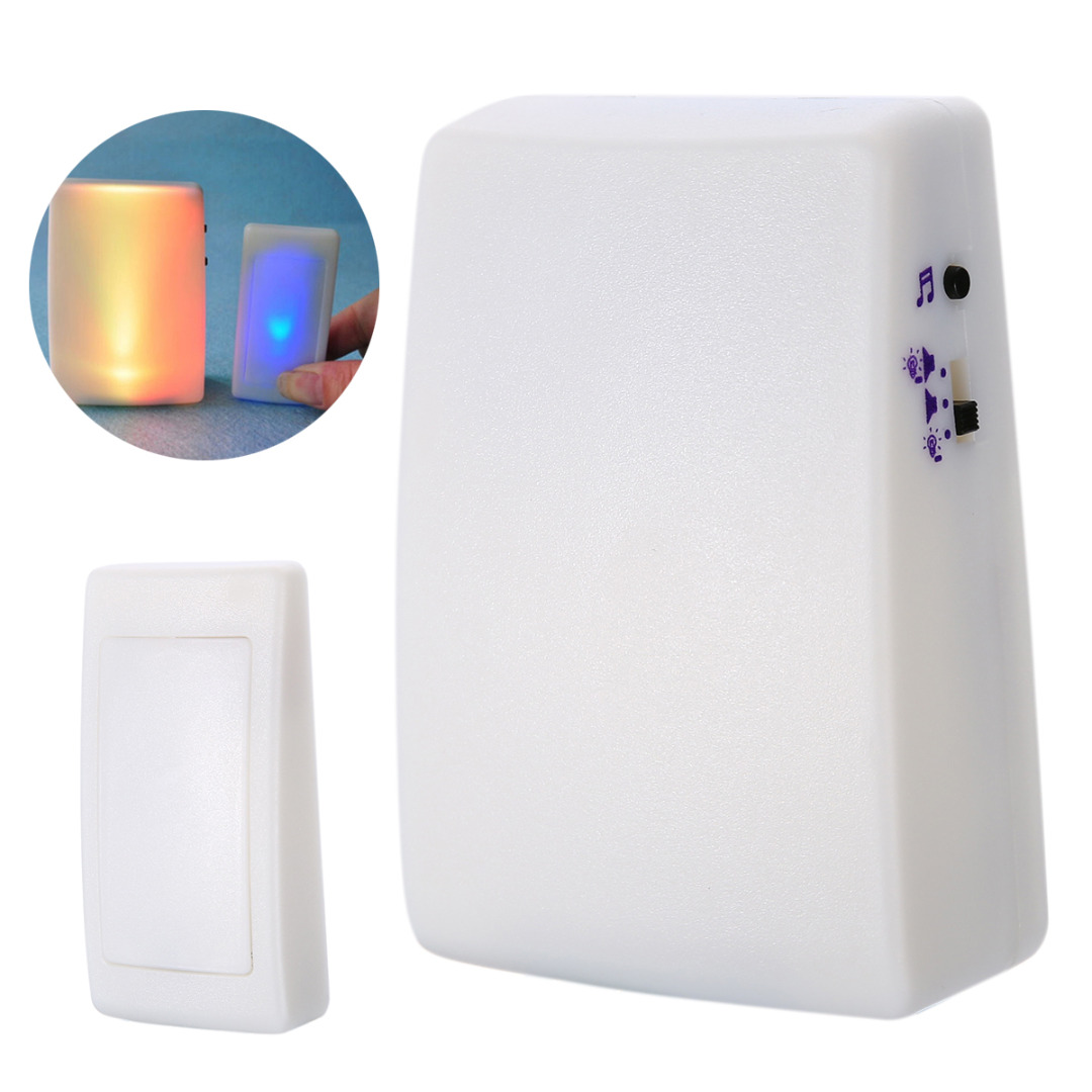 Free Shipping 7 Colors Light Flash Music Doorbell Wireless Three Doorbells For The Hearing Impaired Color Flashing Door Bell 16 Chimes 3 Modes Bells