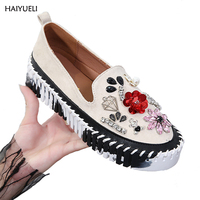 HAIYUELI Women Platform Shoes Fashion Creepers Rhinestones Sequins Harajuku Platform Loafers Women Slip Casual Flat Shoes