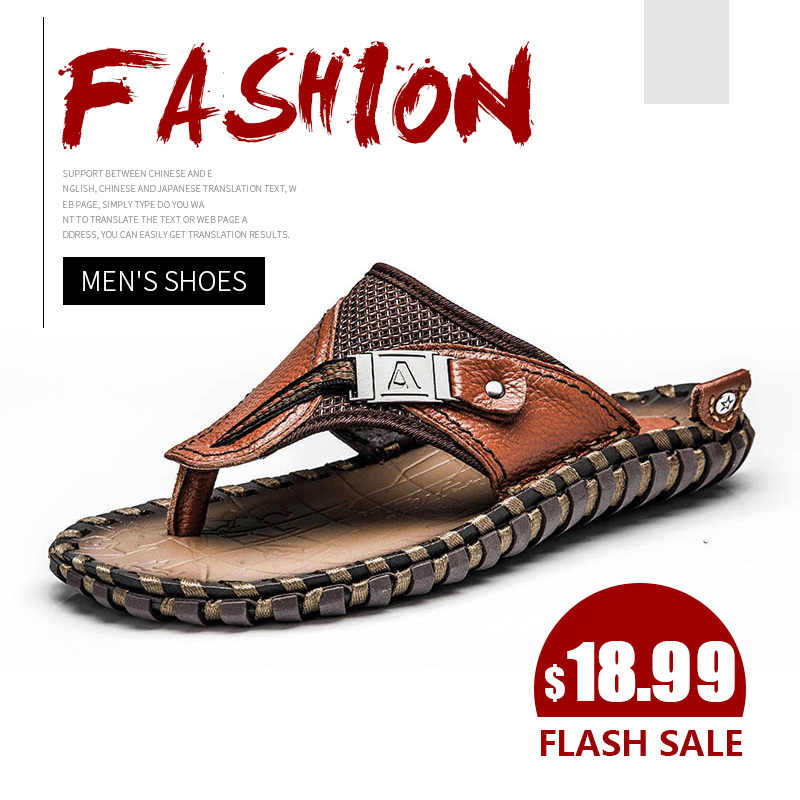 Brand Men's Flip Flops Genuine Leather Luxury Slippers Beach Casual Sandals Summer for Men Fashion Shoes New 2019 Big Size 48