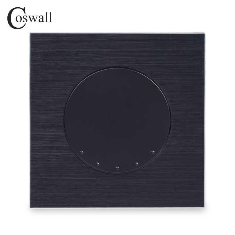 Coswall الفاخرة 1 عصابة إعادة تعيين التبديل لحظة الاتصال التبديل نبض التبديل دفع زر الجدار التبديل أسود الألومنيوم لوحة معدنية