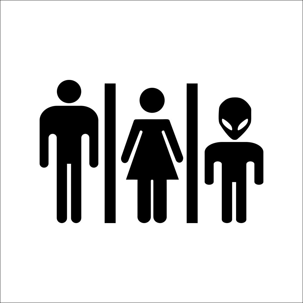 Engraçado Homem Mulher Alienígena Sinal Wc DIY Adesivos De Parede Retrato Vinil Sinal Porta Do Banheiro Decoração Do Banheiro
