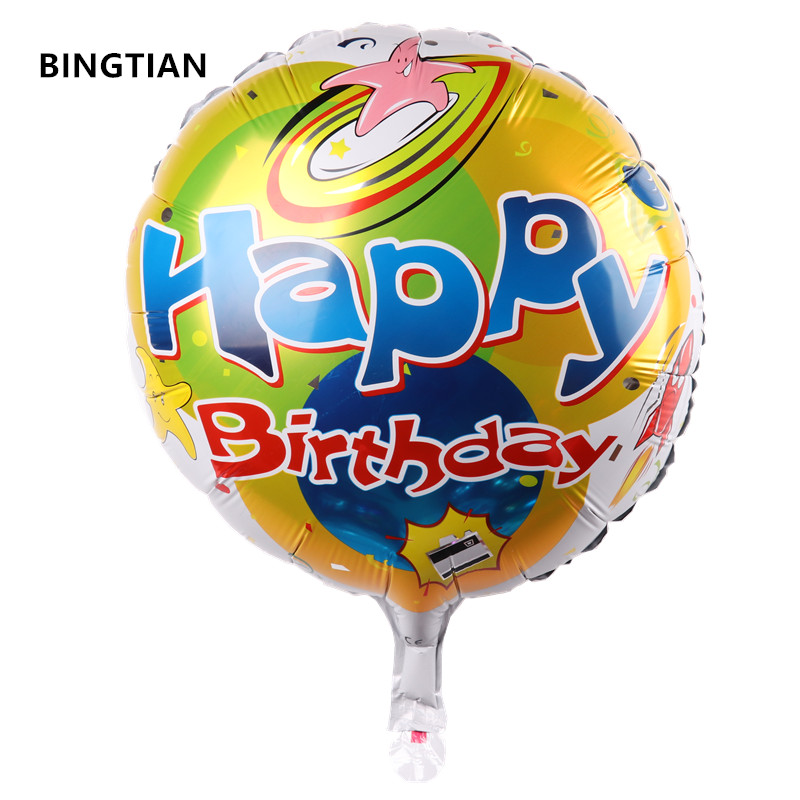 US $0 48 39% OFF|BINGTIAN The new 18 inch round Happy Birthday balloons  holiday party decorations children's toys wholesale high quality balloon-in