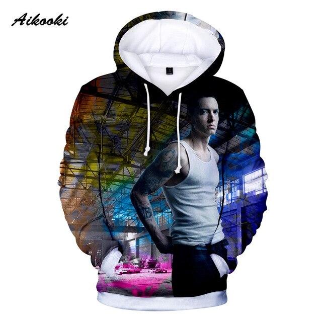 Aikooki moda 3D EMINEM Hoodies hombres mujeres sudadera 3D impresión Eminem  Pullover casual ropa de 1ff1b1ff475