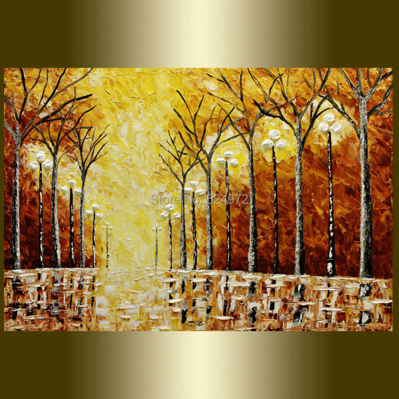 Hand painted modern home idear decoration wall art picture brown tree light thick palette font b