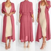 Модный женский свободный однотонный топ с длинным рукавом, Повседневный Кардиган, верхняя одежда, пальто, обычный размер, шифоновый Тренч, осенняя одежда
