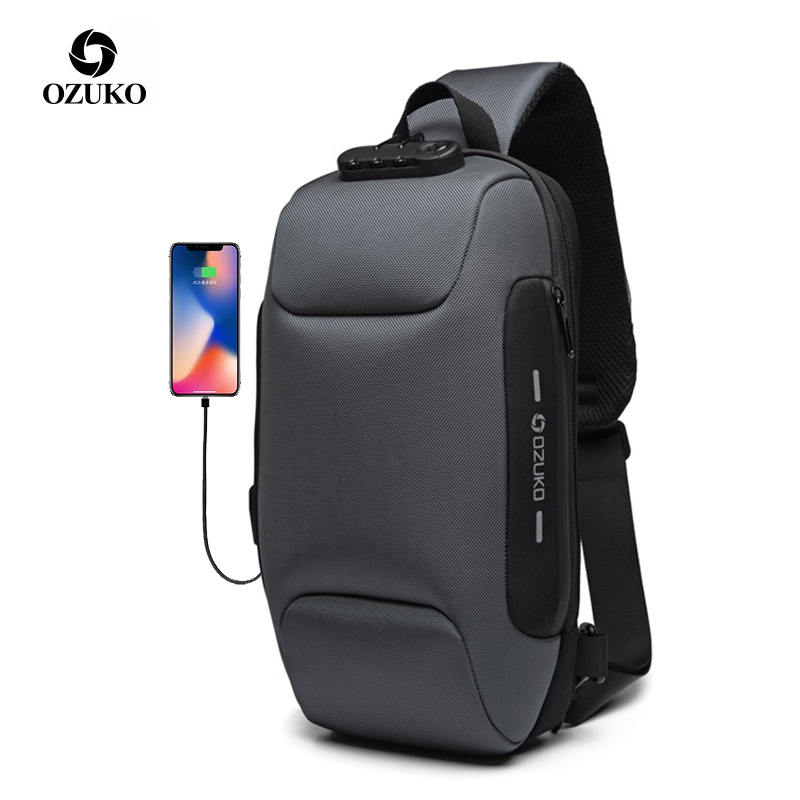 OZUKO 2019 New Multifunction Crossbody Bag for Men Anti-theft Shoulder Messenger Bags Male Waterproof Short Trip Chest Bag Pack mochila canguro para niños grandes