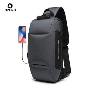 Image 1 - OZUKO 2019 новая многофункциональная сумка через плечо для мужчин, противоугонная сумка через плечо, Мужская водонепроницаемая короткая сумка на грудь