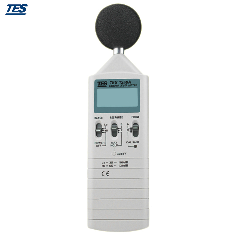 TES-1350A Digital Sound Level Meter 0.1dB Resolution Maximum hold function AUX OUTPUT JACKS