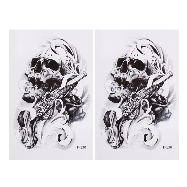 25pcs Large Skeleton Arm Sleeves Tattoos For Men Skull Totem Fake