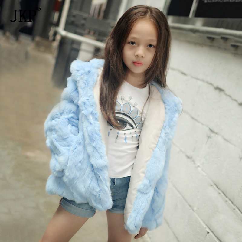 JKP 2018 fashion baby girls new genuine rex rabbit fur Outerwear Autumn Winter Jacket For Children Long Sleeve fur Coats CT-26 цена