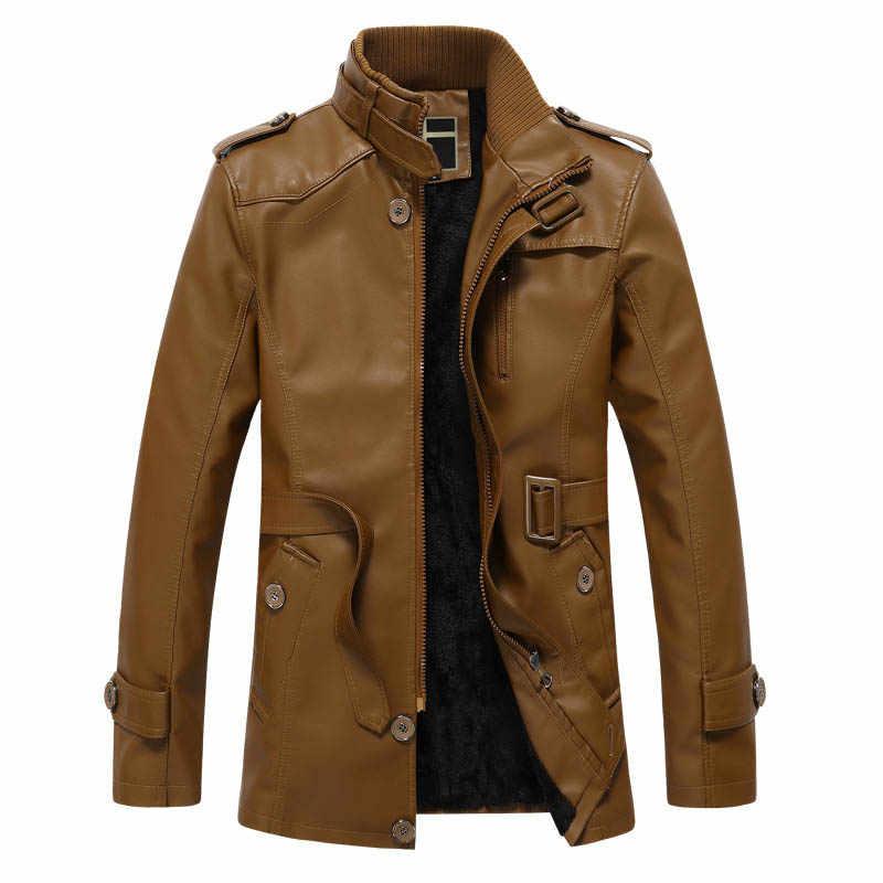 Зимняя кожаная куртка Мужская Флисовая теплая подкладка из шерсти зимнее кожаное пальто для мужчин jaqueta de couro пояс средней длины PU верхняя одежда L-XXXL