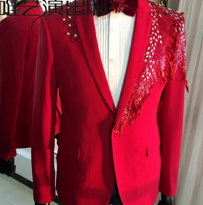 Scène De Designs Blazer Veste Vêtements Gland Pour Mode Robe Étoiles Rouge Chanteurs Paillettes Costumes Danse Hommes Mince Style gwvxY6I6qX