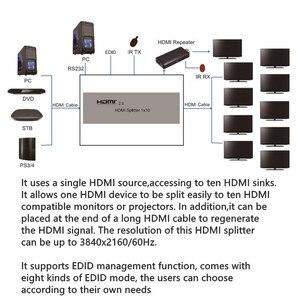 Image 4 - 4K 3D HDR HDMI Splitter 1x10 HDMI2.0V Adattatore EDID RS232 CEC splitter 1 a 10 Connettori Femmina per HDTV Display di Trasporto libero
