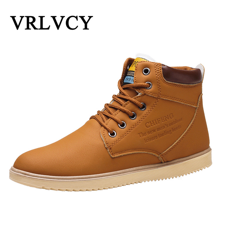 New 2018 men leather Boots Fashion autumn winter Warm Cotton Brand ankle boots lace up men Shoes footwear free shipping
