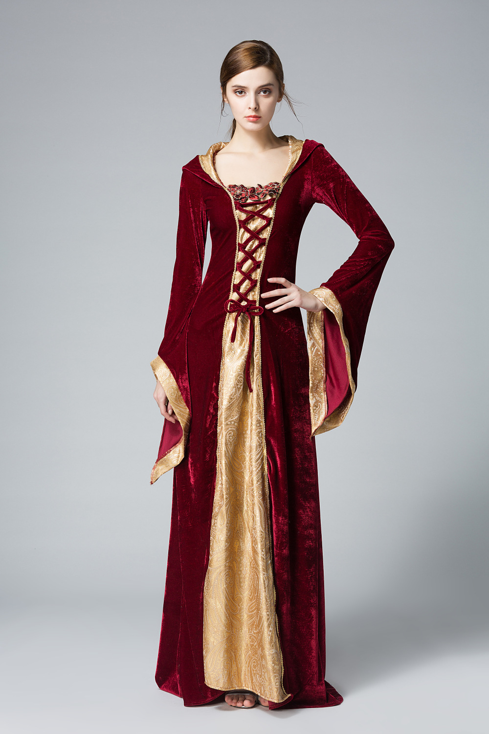 Halloween Party Cosplay adult medieval dress Medieval queen Costumes For Women Full Sleeve Jacquard Gown Princess Costume gown