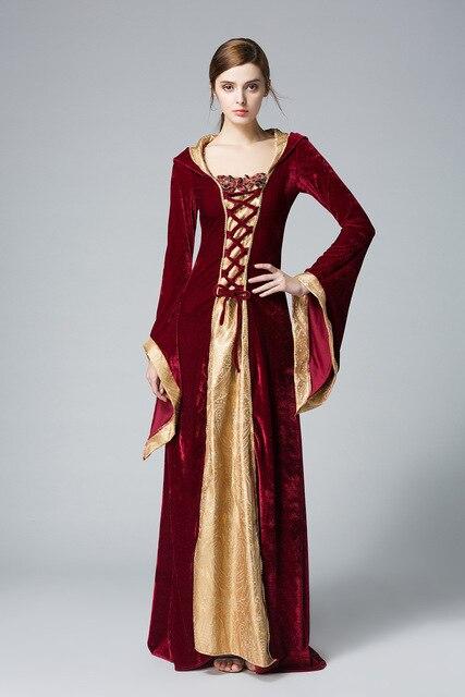 8ecde14e52f Fête d halloween Cosplay robe médiévale adulte Costumes de reine médiévale  pour les femmes robe