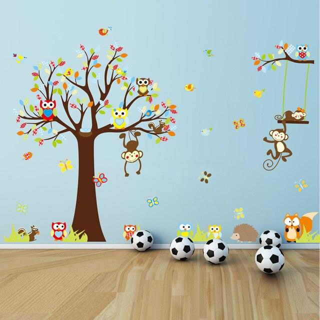 Niedlichen Cartoon Wandtattoo Wald Tier Affe Eulen Baum Wand Aufkleber Für Kinderzimmer Wohnkultur Wandtapete Adesivo De Parede