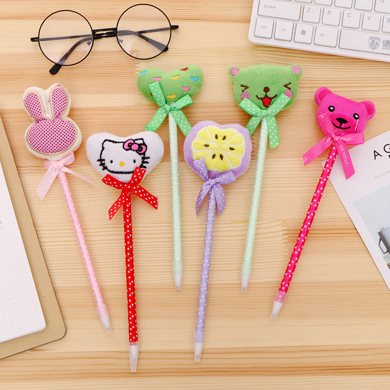 36 Pcs/lot Cartoon Plush Ballpoint Pen Cute Animal Ball Pens For Kids Novelty Gifts School Supplies Cute Stationery Pens, Pencils & Writing Supplies Office & School Supplies