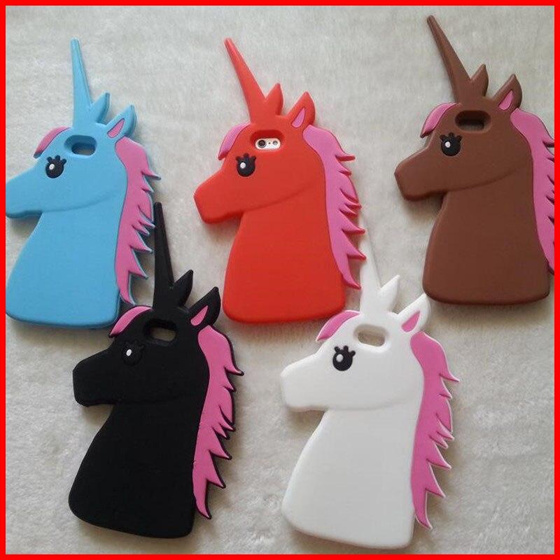 Fashion 3D Cute Cartoon Unicorn Soft Silicon Rubber Case Cover For iPhone 4 4s 5 5s 6 6s plus 4.7/5.5″ White Horse Case