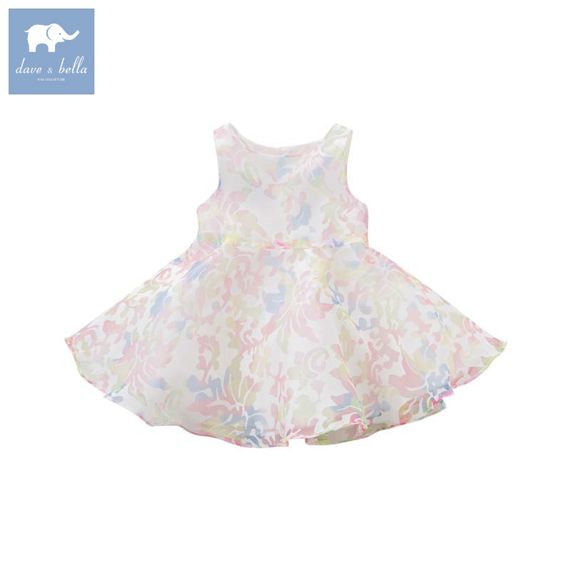 Dave bella Princess baby girl sleeveless dress children party wedding gown toddler summer clothes vestido infantil