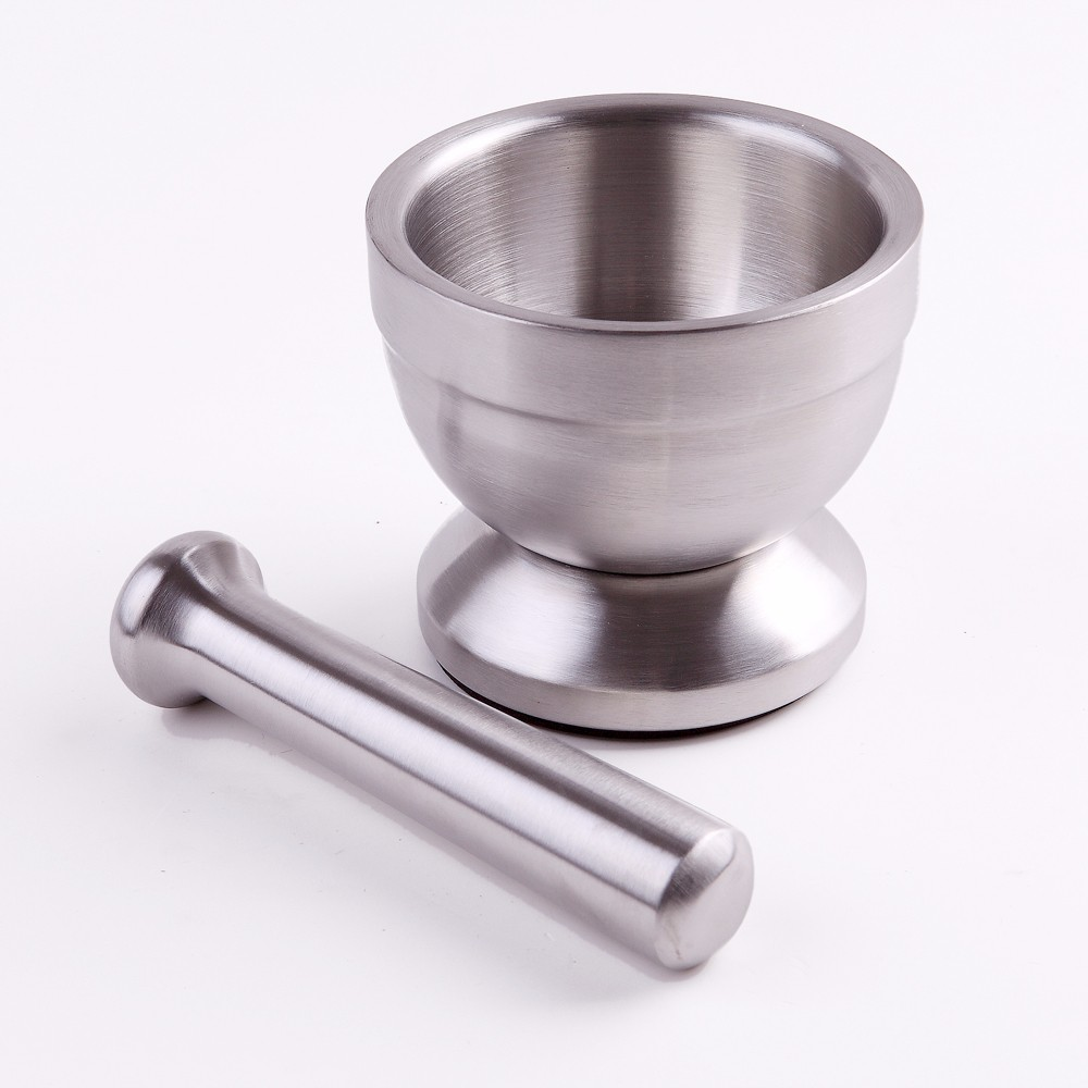 Stainless steel spice grinder mortar and pestle set in