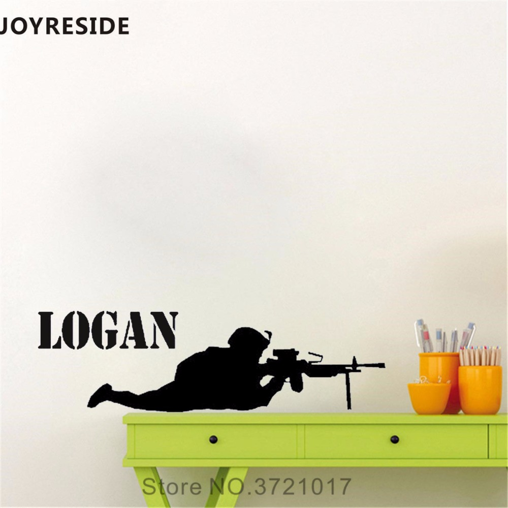 JOYRESIDE Personalized Name Wall Decal Soldier Military Wall Sticker Art Vinyl Decal Home Boys Rooms Decor Interior Design A794