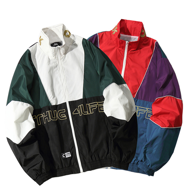 Men Hip Hop Jacket Coat Color Block Patchwork Track Jacket Windbreaker Oversized Retro Vintage Streetwear Harajuku 2018 Autumn