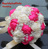 New Arrival Sale Silk Rose Bouquets Wedding Bouquet The Flowers Hot Pink Private Custom