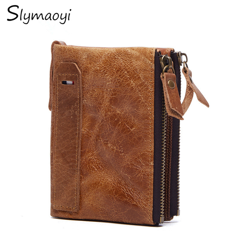 Slymaoyi 2017 Genuine Crazy Horse Cowhide Leather Men Wallet Short Coin Purse Small Vintage Wallet Brand High Quality Designer 2017 genuine cowhide leather brand women wallet short design lady small coin purse mini clutch cartera high quality