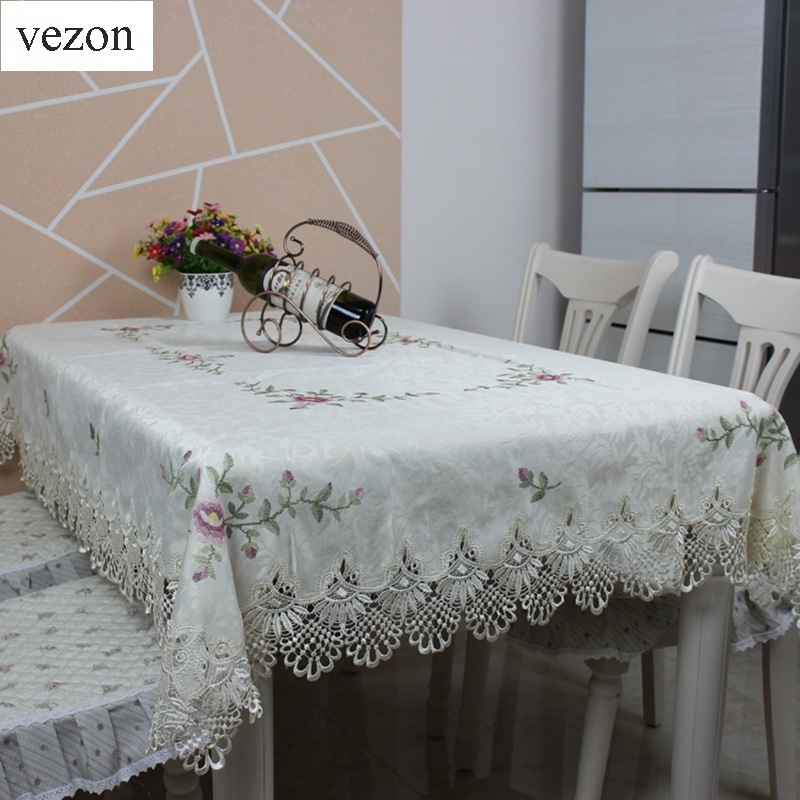 <font><b>Elegant</b></font> Satin Cross-stitch Embroidery Tablecloth Lace Embroidered Table Linen Cloth Cover Overlays <font><b>Home</b></font> <font><b>Decor</b></font> Textile JX017