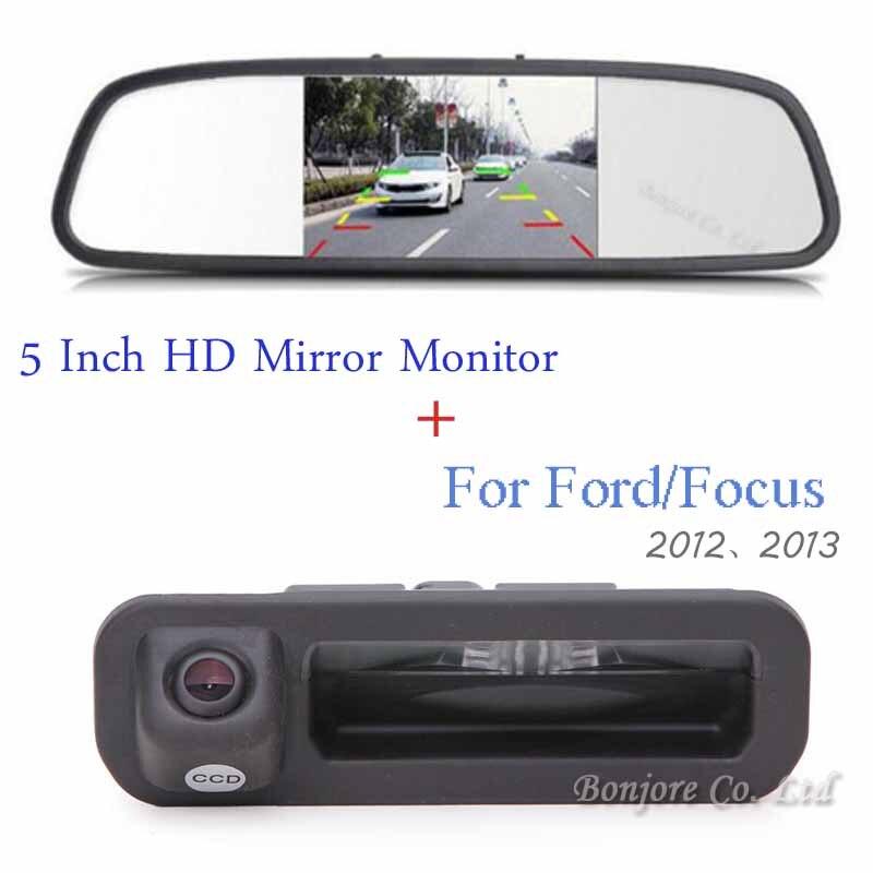 5-дюймовый HD автомобиль зеркало заднего вида Мониторы видео Вход 800*480 12 В + CCD LED Ночное видение автомобиля сзади/спереди вида Парковка Камера
