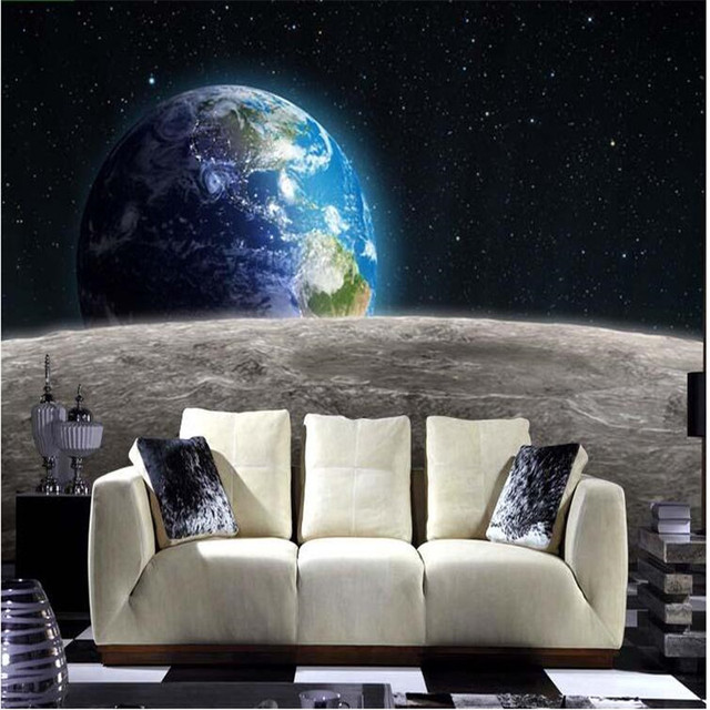 Modern Photo Wallpaper Star Earth 3D Universe Moon Made From Large Size Living Room Restaurant TV