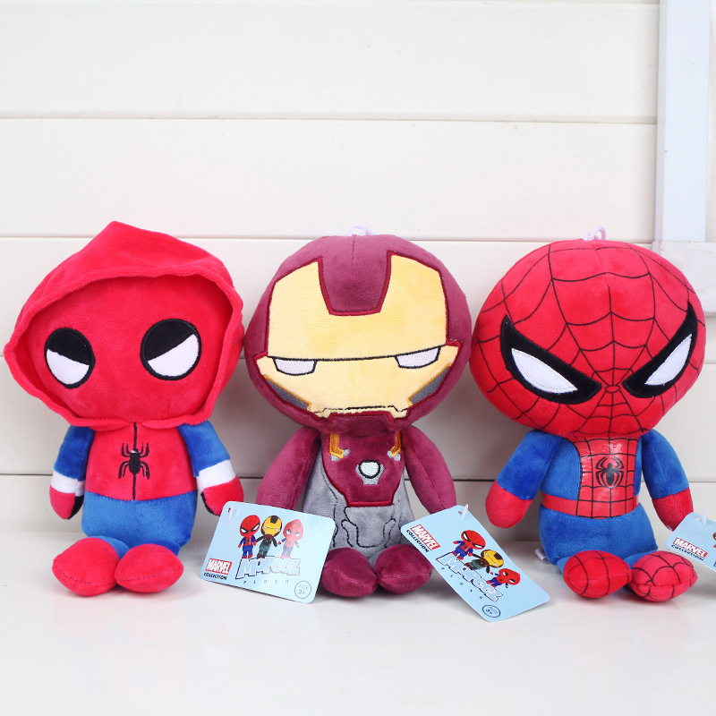 22cm The Avengers Spider-Man:Homecoming Plush Toys Doll Super Hero Spiderman Iron Man Plush Stuffed Toys for Kids Children Gifts