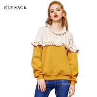 Elf SACK W Trainmen Alishan Autumn And Winter National Trend Ruffle Hem Jacquard Long Sleeve Pullover