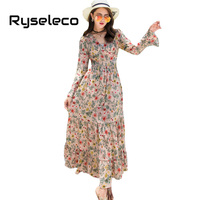 Ryseleco Novelty Design Boho Sweet Empire Long Dresses Women Elegant V Neck Patchwork Floral Prints Beach