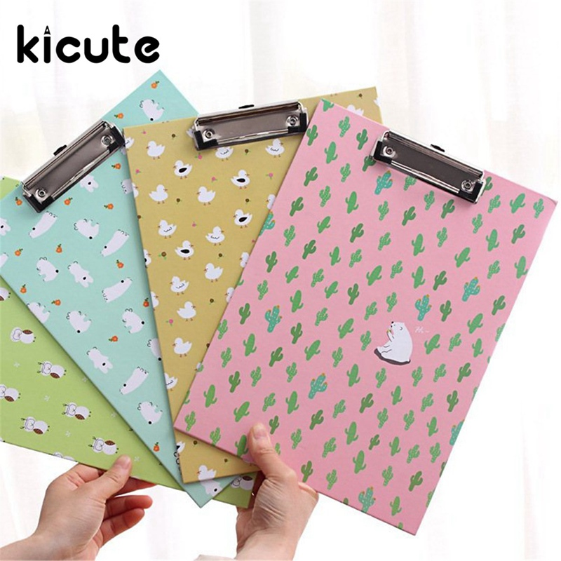 Kicute 1pcs A4 File Paper Metal Clipboard Clips Clipboard Writing Pad Office Writing Board Document Folder Pattern Randomly creative stationery a5 flip board folder splint vertical writing clipboard page splint writing pad folder pu random