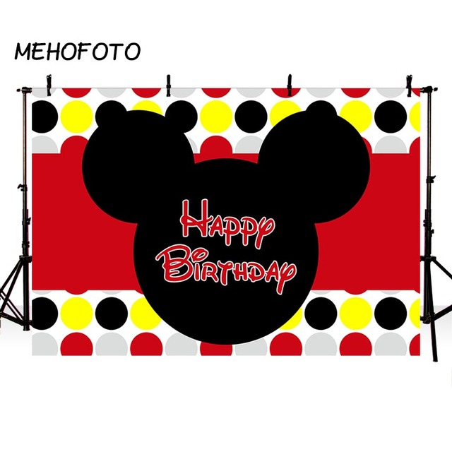 Mehofoto Baby Birthday Party Backdrop Cartoon Mickey Mouse Wave
