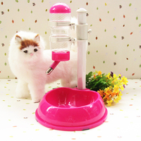 Dogs Cats Love Heart Shape Dual Purpose Automatic Feeder Water Dispenser Detachable Adjustable Plastic Pets Drinker