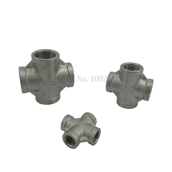 Stainless Steel 304 1/8 1/4 3/8 1/2 3/4 1 1-1/4 1-1/2 Female BSP Thread Pipe Fitting 4 way Equal Cross Connector SS304