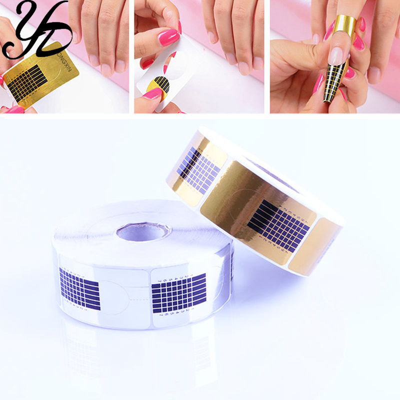 Yiday 1roll 500pcs Rectangle Nail Forms Extension Guide Form Art Sticker Tape Tips Acrylic UV Gel Polish Sculpting DIY Tools