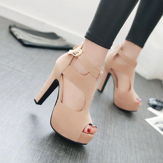 2016 sensuais saltos de tiras das sandálias das mulheres sapatos plataforma sandálias gladiador das mulheres sapatos de verão mulher marca sapatos chaussure femme BDE5