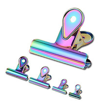 1pc New Creative Colorful Water Drop Long Tail Clip Cross-Border Hot Sale Metal Plating Rainbow Folder Paper