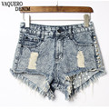 Pantalones Cortos Mujer Vaqueros 2016 Hot Sale Loose Rivet Ripped High Waisted Summer Waist Denim Booty Shorts For Women 11b