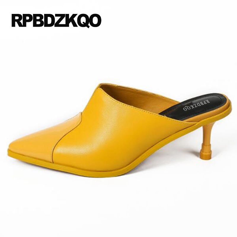 91c9913dd95 Size 33 Female Pumps Stiletto Sandals Novelty Mules Slipper Yellow Shoes  Pointed Toe Ladies High Heels 4 34 New Fashion Summer