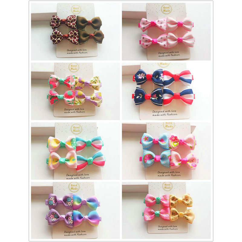 4PCS New Design Baby Bow Hairpins Girls Hair Accessories Children Hairgrips Kids flower printed Hair Clips Mini Headwear J94 24pc hair styling braid hair snap clips for girls headwear hair ornaments black snap hairgrips hairclip barrettes hairpins clips