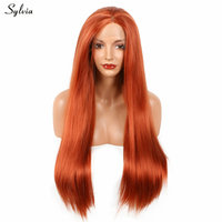 Sylvia 22-26'' Orange Synthetic Lace Front Wigs For Female Nature Looking Long Yaki Straight Glueless Heat Resistant Fiber Hair