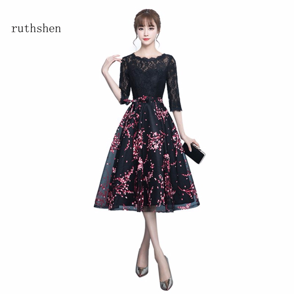 ruthshen 2018 Hot Sccop Neck Prom Dresses Cheap Prom Dresses With Half  Sleeves Tea Length Vintage Formal Party Dresses 2018 312cc11df98b